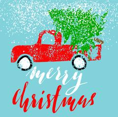Red car carries Christmas spruce. Merry Christmas. Christmas Lettering Piirros