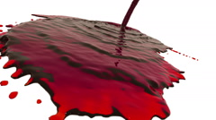 Red liquid flow covers a surface in slow motion. tinted oil Stock Footage