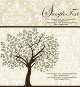Vintage invitation card with ornate elegant abstract floral tree design Stock Illustration