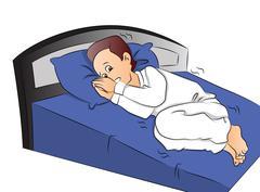 Vector of boy afraid to sleep. Stock Illustration