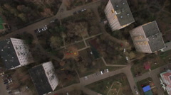 Flying over the yard of apartment blocks in Moscow Stock Footage