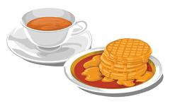 Vector of teacup with pancakes for breakfast. Stock Illustration