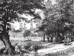 View of Phoenix Park, vintage engraving. Piirros