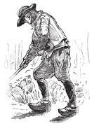 Peasant Breton, vintage engraving. Stock Illustration