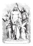 Baptism of Jesus Christ, vintage engraving Stock Illustration