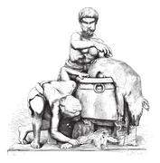Museum of Naples (SCUD). Two men who peel a dead boar, marble group. Height, Stock Illustration