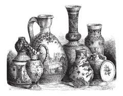 Various Earthenwares, vintage engraving Stock Illustration