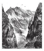 The Port of Venasque, vintage engraving. Stock Illustration