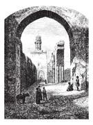Ruins of the Mosque of Hakim-Biamr-Allah, Cairo, vintage engraving. Stock Illustration