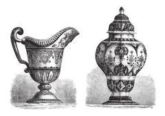 Various Earthenwares, found in Rouen, France, vintage engraving Stock Illustration