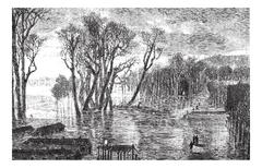 Flood barrier of Saint-Cloud during the winter of 1872-1873. - Drawing Sellie Piirros