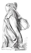 Museum of Louvre; Sculpture. - The Victory of Samothrace. - Drawing Chevingna Stock Illustration