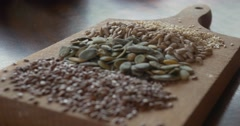 Healthy seeds, sesame, sunflower, pumpkin, flax Stock Footage
