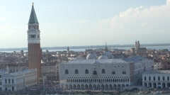 Aerial view over the city of Venice on fine summer day. Stock Footage