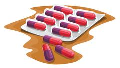 Vector of capsules in strip. Stock Illustration