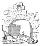 Construction of a fortification door made of stone, Masonry arch, vintage eng Stock Illustration