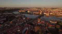 Aerial panorama of Prague, Czech Republic Stock Footage