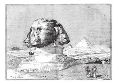 Sphinx, near the ruins of Memphis, Egypt, vintage engraving. Stock Illustration