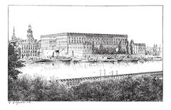 Royal palace in Stockholm, Sweden, vintage engraving. Stock Illustration