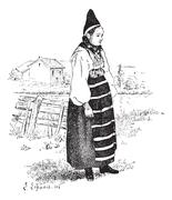 Peasant in the province of Dalarna, Sweden, vintage engraving. Stock Illustration