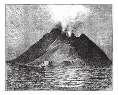 Erupting volcano, Stromboli, Italy, vintage engraving. Stock Illustration
