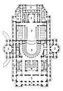 Plan of theater of opera, Paris, vintage engraving. Stock Illustration