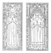 Tombstones, currently in the chancel of church of Saint-gervals, vintage engr Stock Illustration