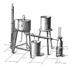 Experimental Setup to Measure the Maximum Elastic Force of Steam, vintage eng Stock Illustration
