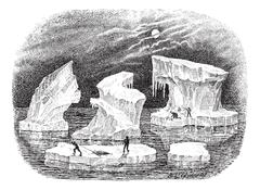 Icebergs, vintage engraving. Stock Illustration