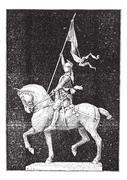 "Joan of Arc, nicknamed ""The Maid of Orleans"", vintage engraving. Stock Illustration"