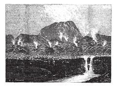 El Jorullo, a cinder cone volcano, vintage engraving. Piirros