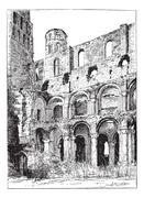 Ruins of the Abbey of Jumieges, vintage engraving. Stock Illustration