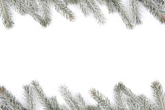 Christmas decoration fir tree snow winter frame isolated on white Stock Photos