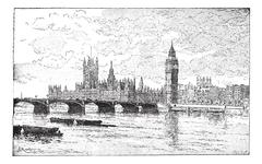 Westminster Bridge and the Houses of Parliament, London, England, vintage eng Stock Illustration