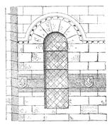 Apse of the Church in Franchesse in Auvergne, France, vintage engraving Stock Illustration