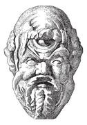 Ancient Theatrical Mask, vintage engraving Stock Illustration