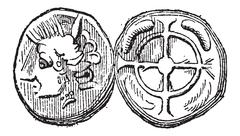 Ancient Celtic Drachma Coin, vintage engraving Stock Illustration