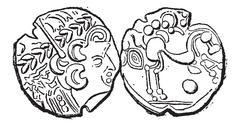 Ancient Parisii Celtic Gold Coin, vintage engraving Stock Illustration