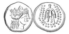 Ancient Celtic Tetradrachma Silver Coin, vintage engraving Stock Illustration