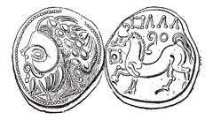 Ancient Celtic Didrachma Coin, vintage engraving Stock Illustration
