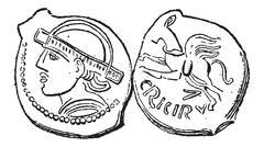 Ancient Bronze Coin, vintage engraving Stock Illustration