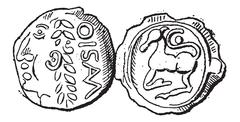 Ancient Celtic Gold Coin of Santones, vintage engraving Stock Illustration