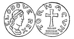 Coin Currency, Merovingian Dynasty, vintage engraving Stock Illustration