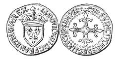 Coin Currency, Louis XIII of France, vintage engraving Stock Illustration