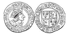 Coin Currency, Francis I of France, vintage engraving Stock Illustration