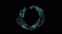 Open ring of turquoise water flowing and rotating - on black, + alpha (FULL HD) Stock Footage