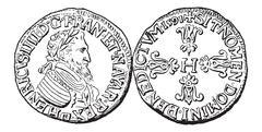 Coin Currency, Henry IV of France, vintage engraving Stock Illustration
