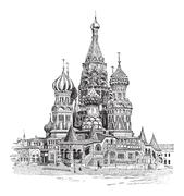 Saint Basil's Cathedral, in Moscow, Russia, vintage engraving Piirros