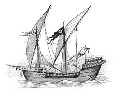 Saint Louis, French Ship, vintage engraving Piirros