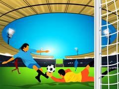 Soccer game in an outdoor stadium. A kick at the opposing team goal Stock Illustration